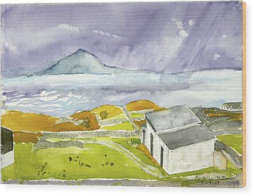 Croagh Patrick And Purple Sky Wood Print