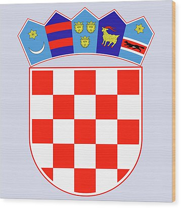Wood Print featuring the drawing Croatia Coat Of Arms by Movie Poster Prints