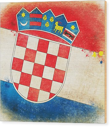 Croatia Flag Wood Print by Setsiri Silapasuwanchai