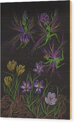 Wood Print featuring the drawing Crocus by Dawn Fairies