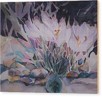 Wood Print featuring the painting Crocuses by Mindy Newman