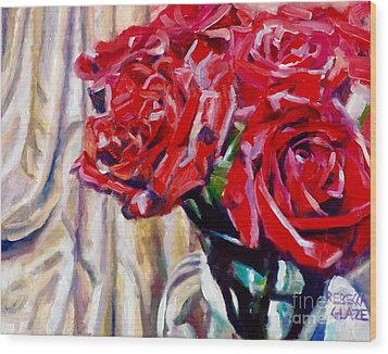 Wood Print featuring the painting Crimson  Petals by Rebecca Glaze