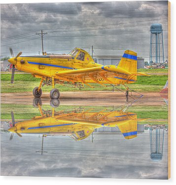 Crop Duster 002 Wood Print by Barry Jones