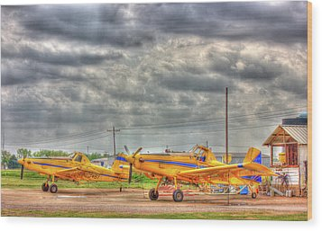 Crop Duster 003 Wood Print by Barry Jones