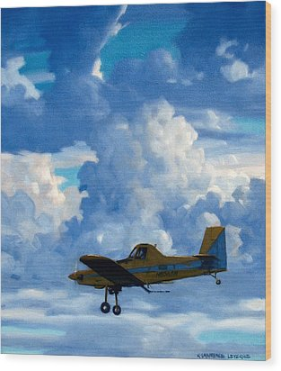 Crop Duster Wood Print by Kevin Lawrence Leveque