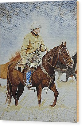 Cropped Ranch Rider Wood Print by Jimmy Smith