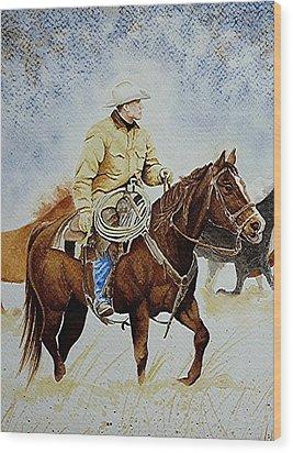 Cropped Ranch Rider Wood Print
