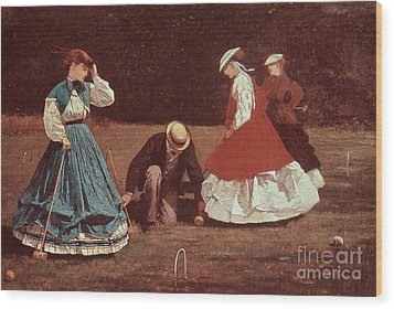 Croquet Scene Wood Print by Winslow Homer