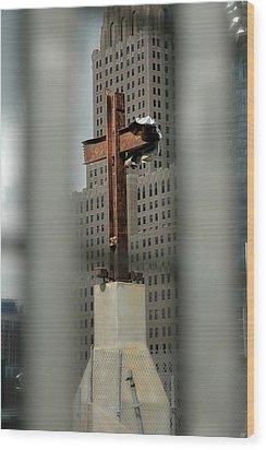 Cross At Ground Zero Wood Print by Frank Mari