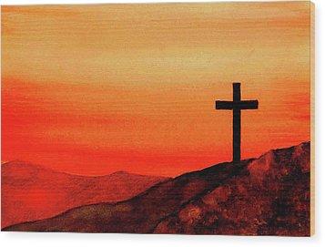 Cross At Sunset Wood Print by Michael Vigliotti