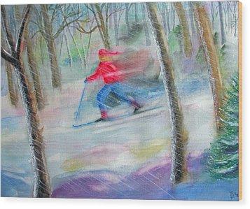 Cross Country Ski Wood Print by Robert P Hedden