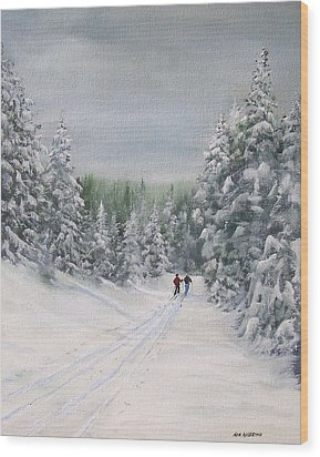 Cross Country Skiers Wood Print by Ken Ahlering