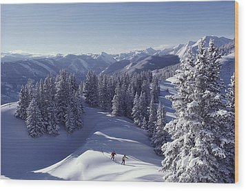 Cross-country Skiing In Aspen, Colorado Wood Print by Annie Griffiths