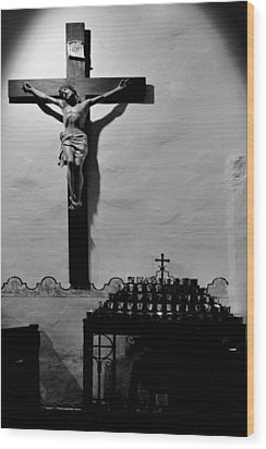 Wood Print featuring the photograph Cross Mission San Diego De Alcala by Christine Till