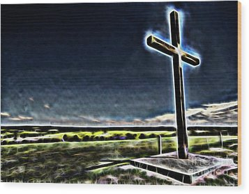 Wood Print featuring the photograph Cross On The Hill by Douglas Barnard