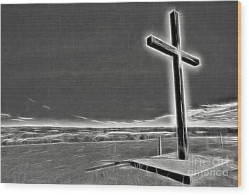 Wood Print featuring the photograph Cross On The Hill V2 by Douglas Barnard