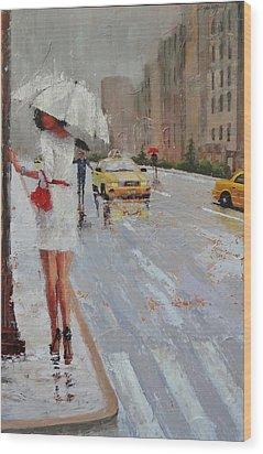 Cross Walk Wood Print by Laura Lee Zanghetti