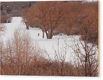 Crosscountry Skier Wood Print