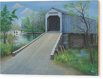 Crossing At The Covered Bridge Wood Print by Oz Freedgood