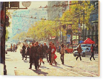 Crossing San Francisco Market Street Wood Print by Wingsdomain Art and Photography