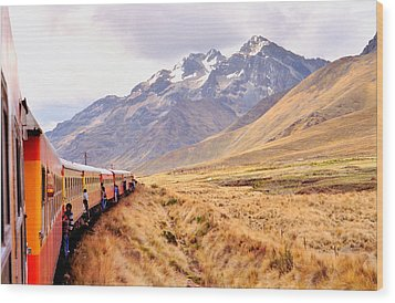Wood Print featuring the photograph Crossing The Andes by Nigel Fletcher-Jones