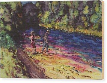 Crossing The Stream Wood Print by Carolyn Doe