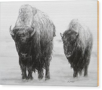 Crossing Yellowstone Wood Print by Meagan  Visser