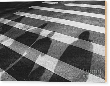 Wood Print featuring the photograph Crossings Shadow People by John Rizzuto