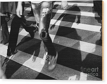 Wood Print featuring the photograph Crossings Adidas by John Rizzuto