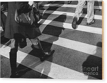 Wood Print featuring the photograph Crossings Shadow First by John Rizzuto