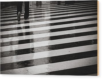 Crosswalk In Rain Wood Print by photo by Jason Weddington