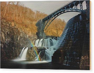 Croton Dam Rainbow Spray Wood Print