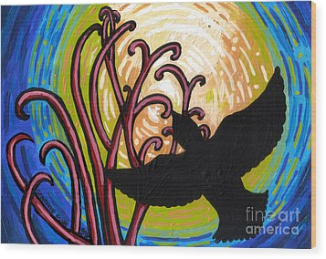 Crow And Full Moon In Winter Wood Print by Genevieve Esson