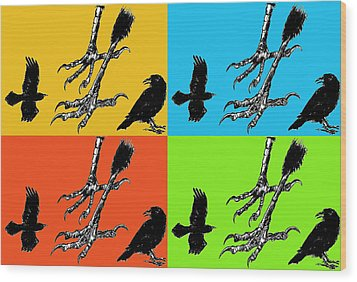 Crow Feet Four Wood Print by Diana Ludwig