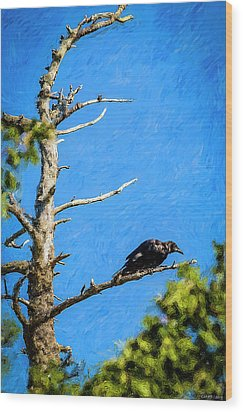 Crow In An Old Tree Wood Print by Ken Morris