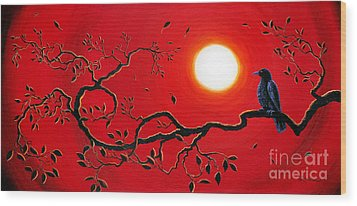 Crow In Crimson Sunset Wood Print by Laura Iverson