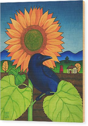 Crow In The Garden Wood Print by Stacey Neumiller