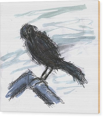 Crow In The Wind Wood Print