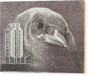 Crow Over Casino Windsor Wood Print