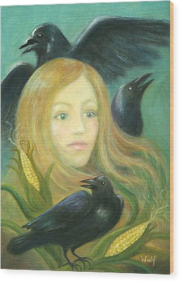 Crow Queen Wood Print