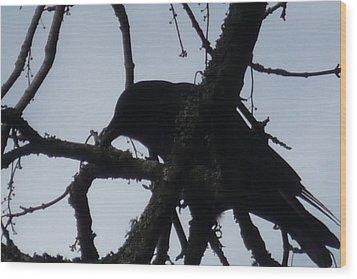 Crow Silouette Wood Print by Dawna Raven Sky
