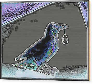 Crow With Crystal 2 Wood Print