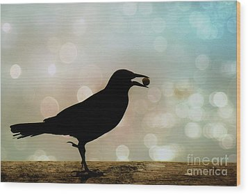 Wood Print featuring the photograph Crow With Pistachio by Benanne Stiens