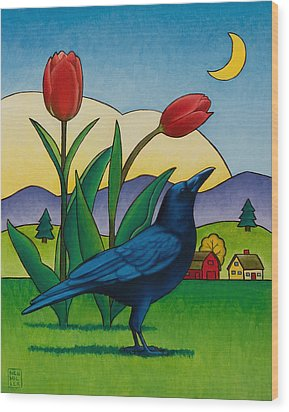Crow With Red Tulips Wood Print