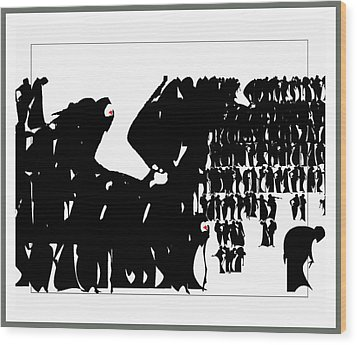 Crowd Wood Print by Olena Kulyk