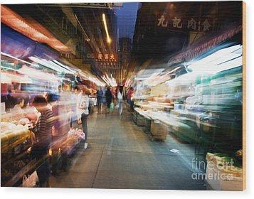 Crowds Moving Through Jordan Wood Print by Ray Laskowitz - Printscapes