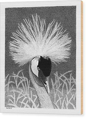 Crowned Crane Wood Print