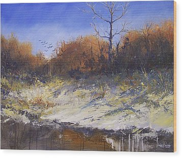 Crows Along The Cottonwood Wood Print by Douglas Trowbridge