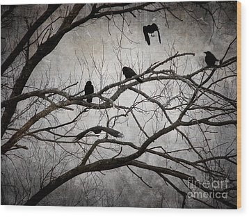 Crows At Midnight Wood Print by Angie Rea