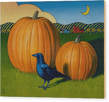 Crows Harvest Wood Print by Stacey Neumiller
